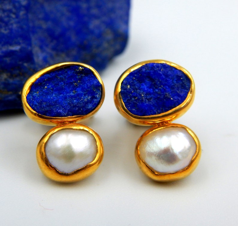 Gift For Her September June Birthstone Pearl Earrings Sterling Silver Gold Plated Lapis Lazuli Earrings Rough Gemstones Stud Earrings