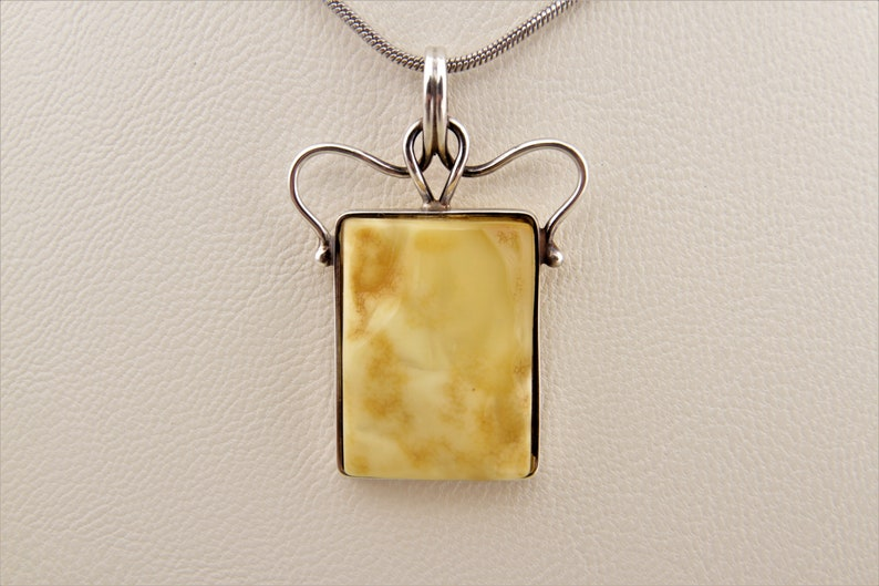 Genuine Ukrainian Yellow Landscape Amber Necklace With Silver Boards Perfect Presend Gift for Her Unique Royal Amber Pendant by Chronicles