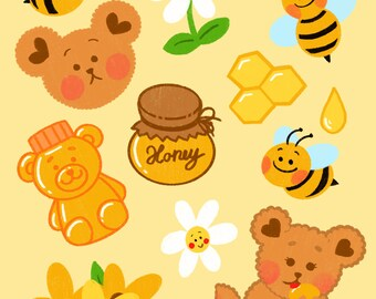 Honey Bear Stickers (Volume 1) / Cute Kawaii Stickers /