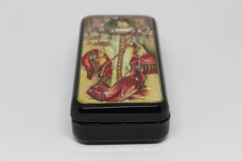 Fedoskino 2020. Mucha Lacquer Box Seasons Russian lacquer miniature Autumn