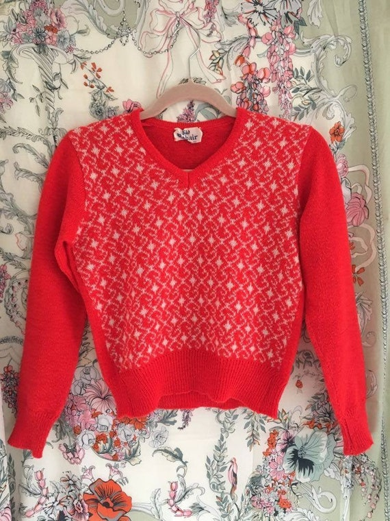 Vintage 1970s Red Mohair Jumper UK6-8 - image 1