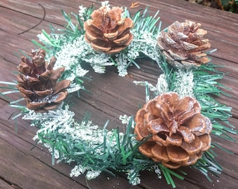 Pine Cone Center Piece Candle Ring with Blue spruce scented soy wax candle handmade real pine cones rustic wedding Made in Oregon