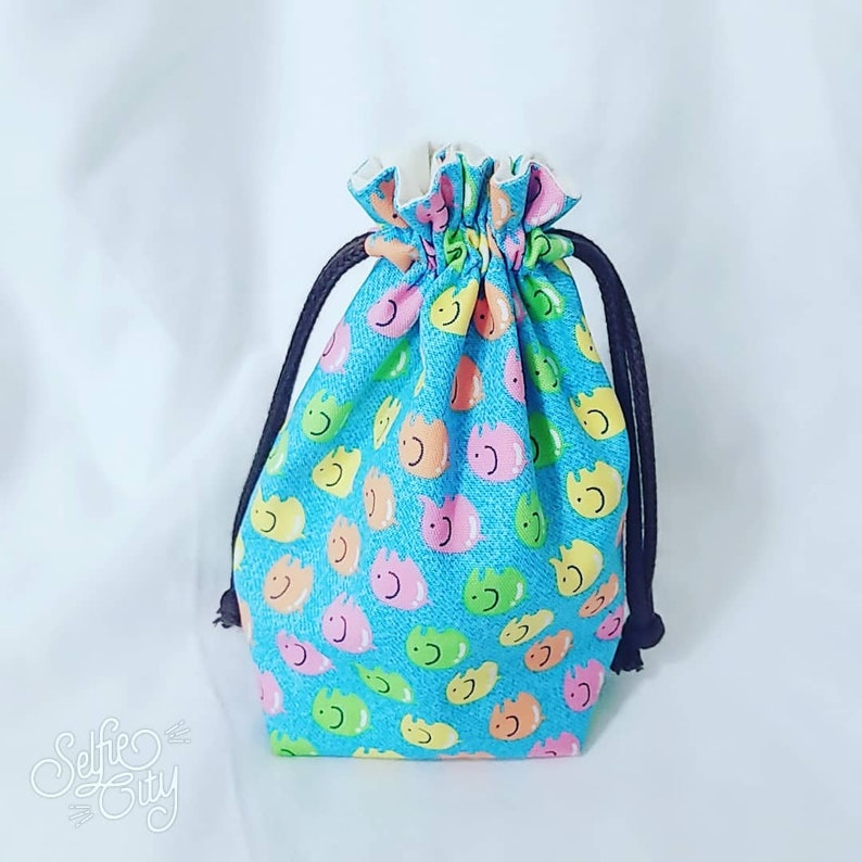 Small Drawstring Bag Drawstring Bag Fabric gift bagBlue ColorCutie Pattern