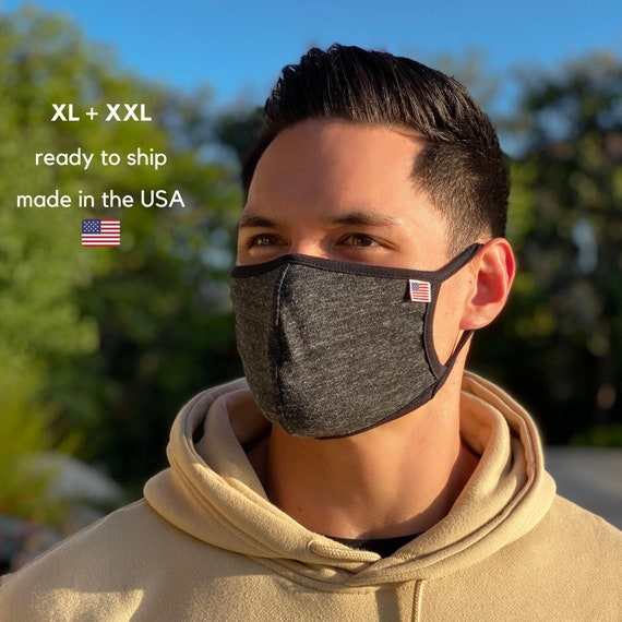 Large XL Face Masks for Men + Women \ Big Masks Washable Reusable Cloth Masks Made in USA \ Filter Pocket OR 2-Ply Face Covers