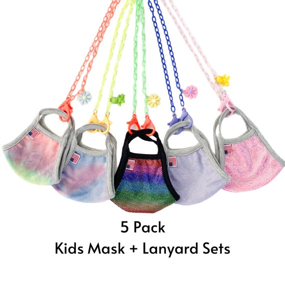 5 Pack Kids Face Mask + Lanyard Sets for School