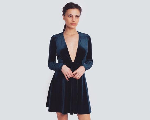Blue Nile V Neck Dress / Long Sleeve Mini