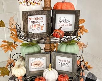Handmade Pumpkin Spice signe pour échelonné Plateauautomne DécorationRae Dunn Inspiré