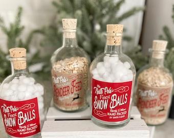 Bottled SNOWBALLS & REINDEER FEED Christmas Winter Decoration | Faux Mini Snowballs in a Glass Corked Jar  | Bottled Reindeer Food Decor