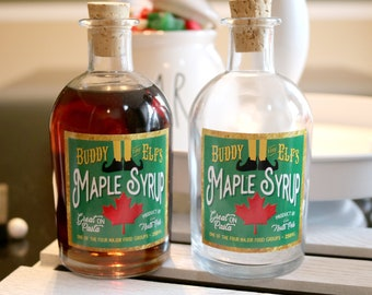 BUDDY the Elf's SYRUP BOTTLE Decoration *Fill yourself - Syrup Not included* | Buddy's Maple Syrup - Great on Pasta |  4 Major Food Groups