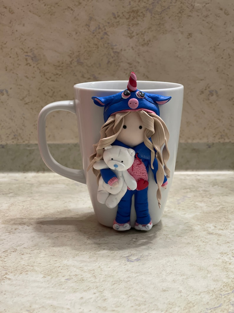 Valentine day cups Unicorn cup for girls Cup with polymer clay decor