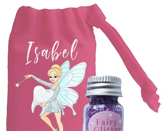Personalised Mini Tooth Fairy Pink Bag and Fairy Glitter Turquoise