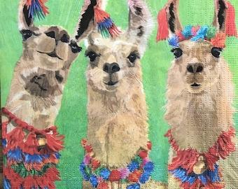 Junk Journals Journal Art Collage Paper 5 x 5 Scrapbooking Decoupage Napkin C84 Tissue Art Fancy Llamas Guest Napkin