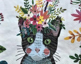 Decoupage Tissue ~ Floral Cats ~ Animal Print ~ Kids Crafts ~ Art Journal ~ Collage Napkin ~ Decorative Tissue ~ Decoupage Paper