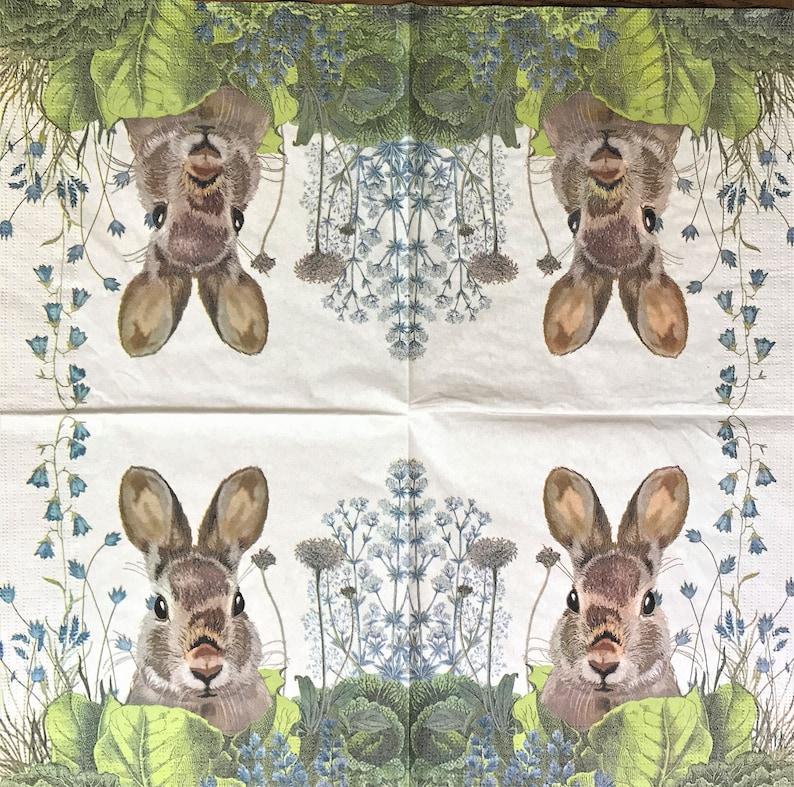 Junk Journals Collage Paper Cabbage Patch Bunny Decoupage Art Tissue Decoupage Decoupage Napkin 6.5 x 6.5 064 Scrapbooking