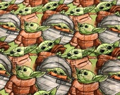 Baby Yoda Cotton Lycra Fabric 100% cotton | Knit I 4-way stretch knit | 1/4 Yard | 1/2 Yard | 3/4 Yard | 1 Yard