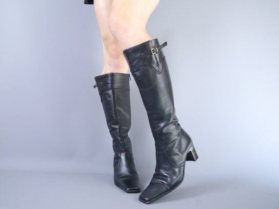 Vintage 90s leather buckle knee high gogo boots