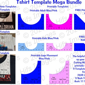 Printable T Shirt Alignment Tool Template Bundle Adult Etsy