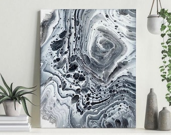 """8x10"""" Black and White Acrylic Ring Pour Abstract Original Painting Fluid Wall Art Home Decor"""
