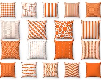 "Outdoor Orange Fall Throw Pillow Cover, Autumn Halloween Accent Pillow, Striped Polka Dot Cushion Case, 16"" 18"" 20"" 22"" 24"" Lumbar Euro Sham"