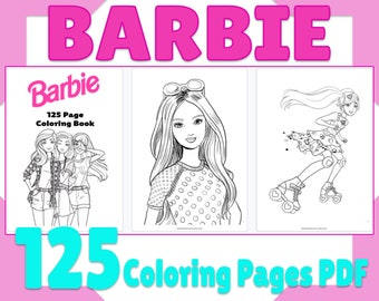 Barbie Coloring Page Etsy