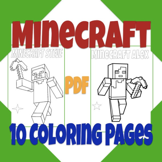 Minecraft Coloring Pages Minecraft World Coloring Sheets For Etsy