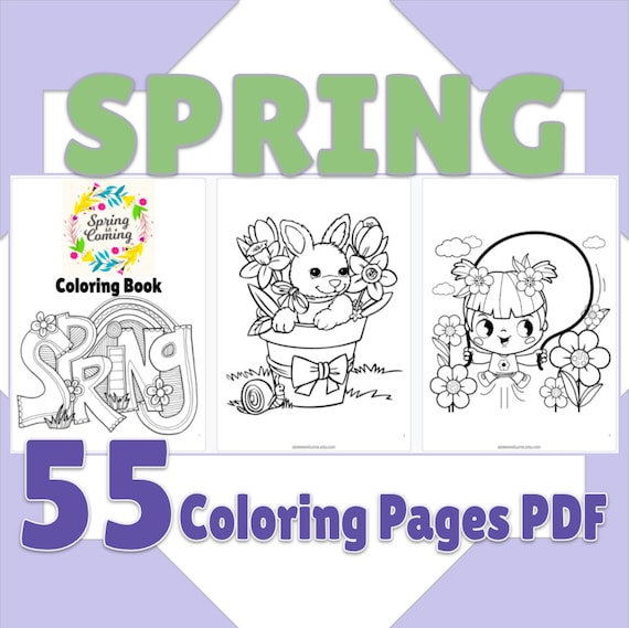 Spring Coloring Printable Pages 55 Spring Coloring Book PDF