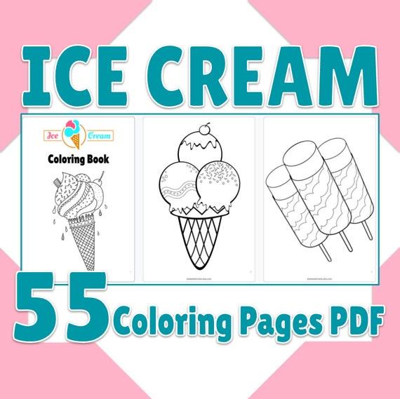 Printable Ice Cream Coloring Book 55 Page PDF Cute Ice Cream