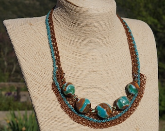 Adornment Glass Pearls necklace and bracelet set with waxed thread.