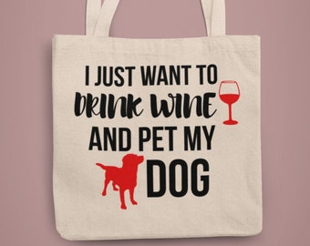 Dog Wine Tote Love my Wine and Canine Wine Tote with Rhinestone French Bulldog Single-bottle Frenchie Dog wine tote in Bling for Dog Lovers