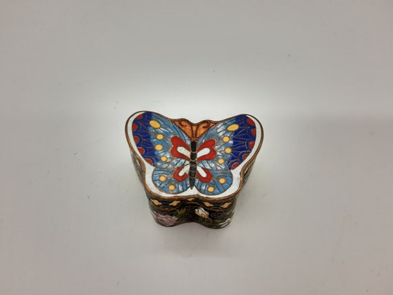 Vintage Chinese Cloisonne Butterfly Floral Trinket
