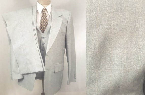 70's Light Blue Men's 3 pc Suit by Montgomery Ward