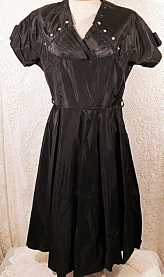 50's Dress | 50's Black Satin Swing Evening or Pa… - image 2