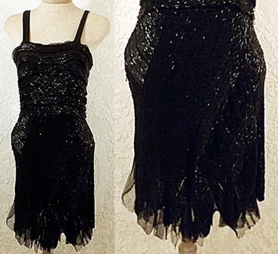 Antique 30s Beaded Flapper Dress  Party Dress