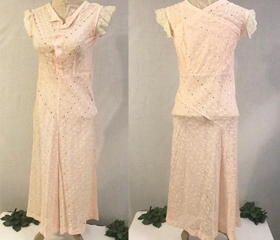 Antique 30's Pink Lace Evening Party Dress