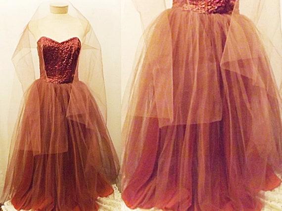 50s Dress | 50's Strapless Satin Sequin Evening Dr