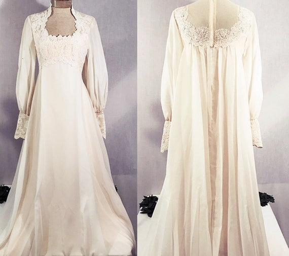 70's Bianchi Empire Waist Lace Wedding Gown