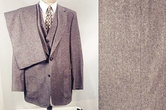 70's Vintage Men's Chevoit Tweed Gray 3 pc Suit w