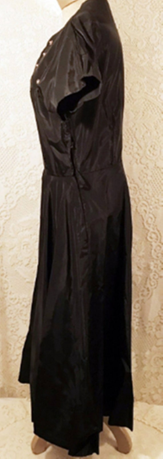 50's Dress | 50's Black Satin Swing Evening or Pa… - image 5