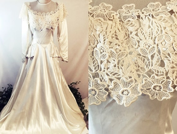 40's Liquid Satin Lace Wedding Gown or Dress