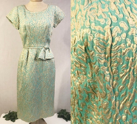 Vintage 1950s Brocade Evening  Party Dress Size 6