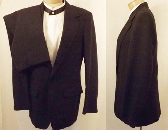 70's Vintage Men's Black Wool Formal Suit