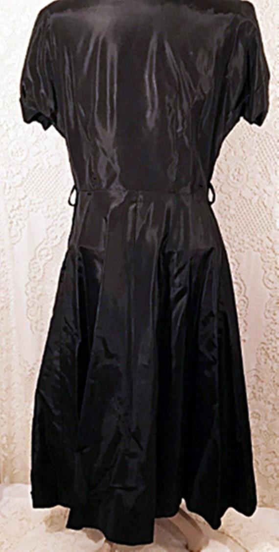 50's Dress | 50's Black Satin Swing Evening or Pa… - image 6