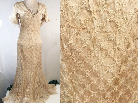 Antique 1920s Handmade Tulle Lace Evening Gown or