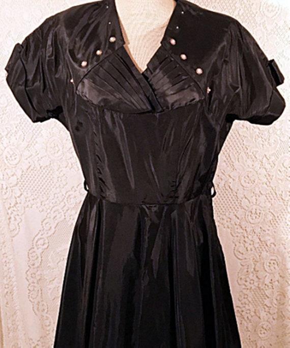 50's Dress | 50's Black Satin Swing Evening or Pa… - image 3