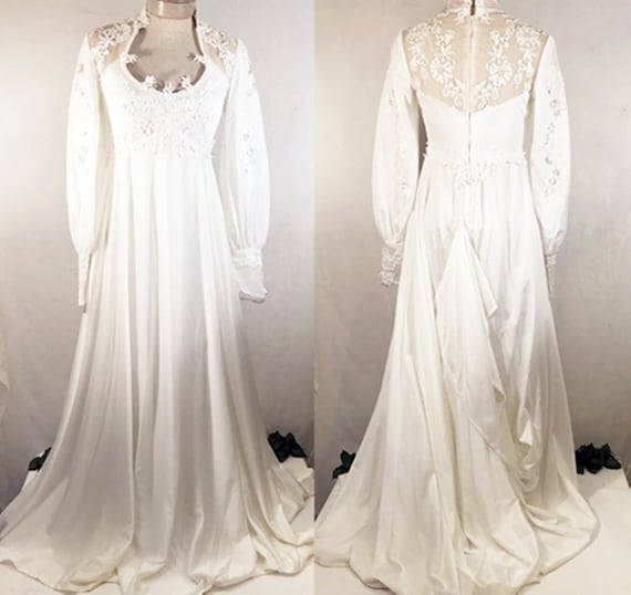 70's Empire Waist Beaded Lace Wedding Gown