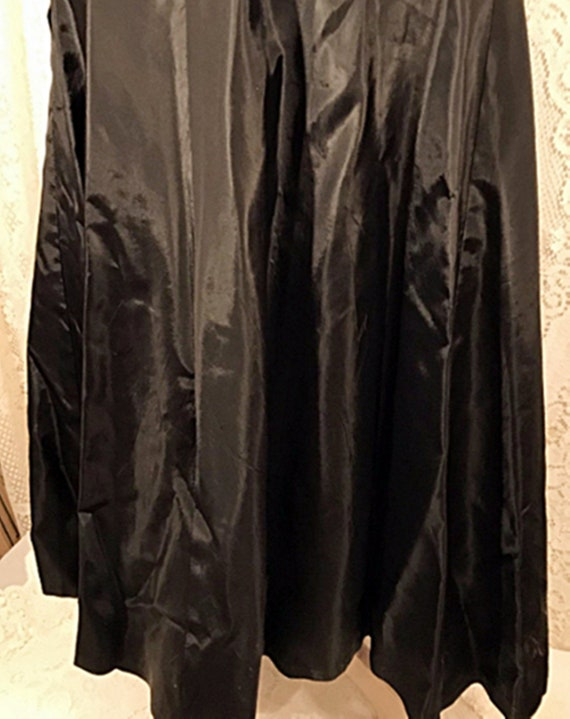 50's Dress | 50's Black Satin Swing Evening or Pa… - image 7