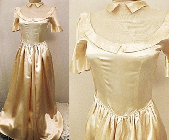 30's Liquid Gold Satin Evening Gown Dress