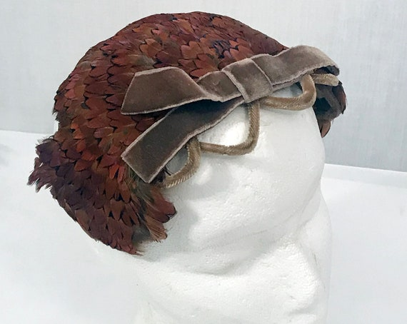 40's Pheasant Feather Fascinator Party Hat