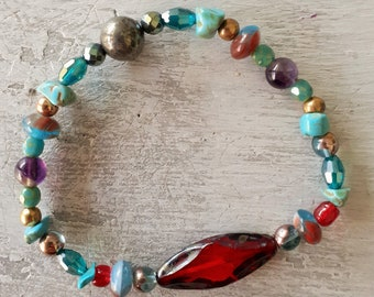 Baroque glass and boho crystal bracelet