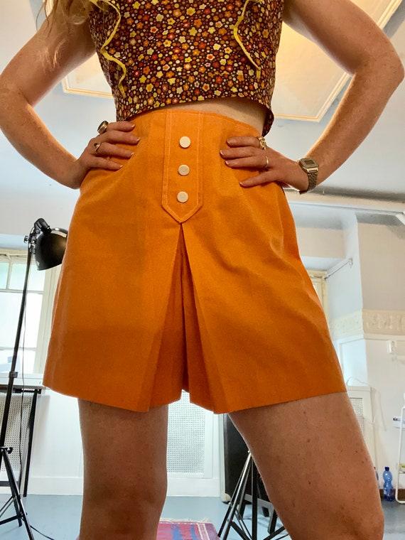 Vintage 1960s Ladies Orange Skort Shorts XS